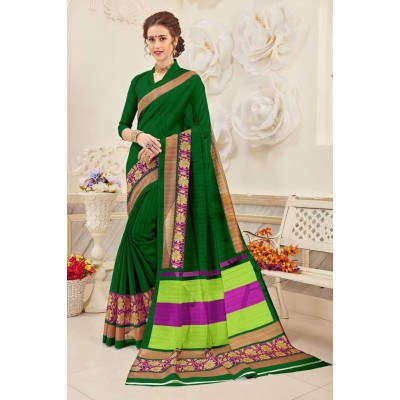 Aradhya Fabrics Dark Green Bhagalpuri Cotton Printed Saree