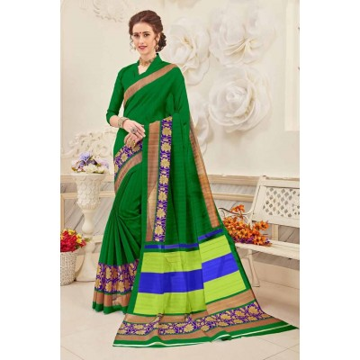 Aradhya Fabrics Green Bhagalpuri Cotton Printed Saree