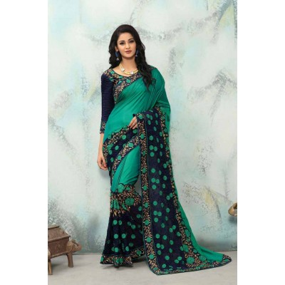 Aradhya Fabrics Green Georgette Embroidered Saree