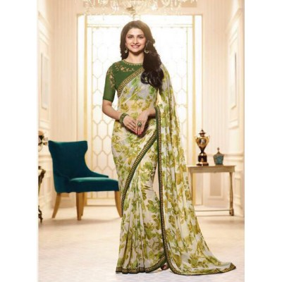 Aradhya Fabrics Green Georgette Printed Saree