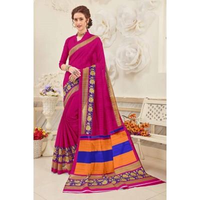 Aradhya Fabrics Magenta Bhagalpuri Cotton Printed Saree