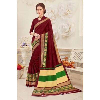 Aradhya Fabrics Maroon Bhagalpuri Cotton Printed Saree