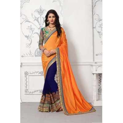 Aradhya Fabrics Mustard Yellow Georgette Embroidered Saree
