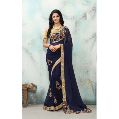 Aradhya Fabrics Navy Blue Georgette Embroidered Saree