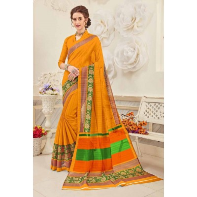 Aradhya Fabrics Orange Bhagalpuri Cotton Printed Saree