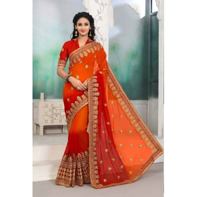 Aradhya Fabrics Orange Georgette Embroidered Saree