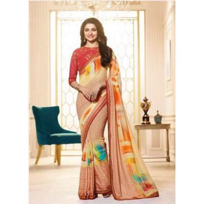 Aradhya Fabrics Peach Georgette Printed Saree