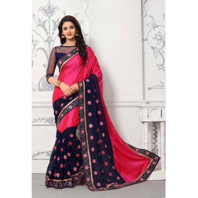 Aradhya Fabrics Pink Georgette Printed Saree