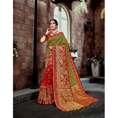 Aradhya Fabrics Red Banarasi Silk Zari Worked Saree