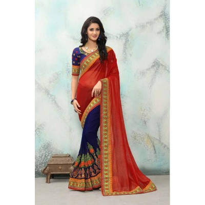 Aradhya Fabrics Red Georgette Embroidered Saree