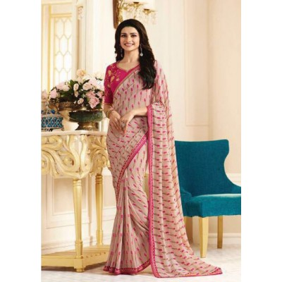 Aradhya Fabrics Rose Georgette Printed Saree