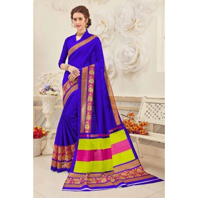 Aradhya Fabrics Royal blue Bhagalpuri Cotton Printed Saree