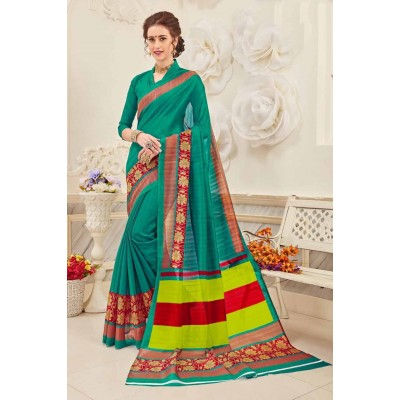 Aradhya Fabrics Sea Green Bhagalpuri Cotton Printed Saree