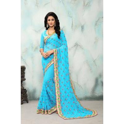 Aradhya Fabrics Sky Blue Georgette Printed Saree