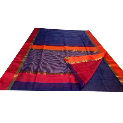 Ahilya Maheshwari Deep Blue Cotton Silk Maheshwari Handloom Saree