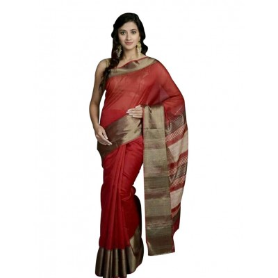 Ahilya Maheshwari Crimson Red Cotton Silk Maheshwari Handloom Saree