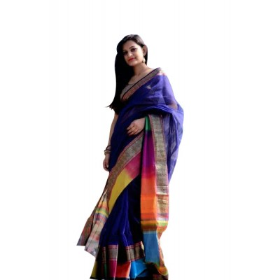 Ahilya Maheshwari Blue Cotton Silk Maheshwari Handloom Saree