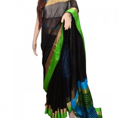 Ahilya Maheshwari Black Cotton Silk Maheshwari Handloom Saree