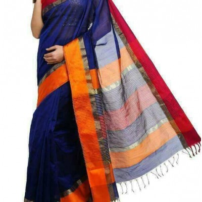 Ahilya Maheshwari Navy Blue Cotton Silk Maheshwari Handloom Saree