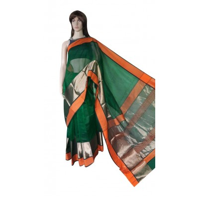 Ahilya Maheshwari Green Cotton Silk Maheshwari Handloom Saree