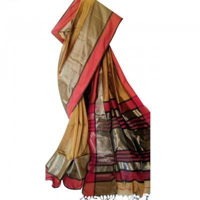 Ahilya Maheshwari Gold Cotton Silk Maheshwari Handloom Saree