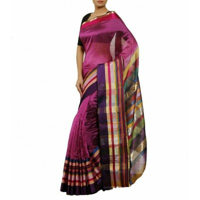 Ahilya Maheshwari Purple Cotton Silk Maheshwari Handloom Saree