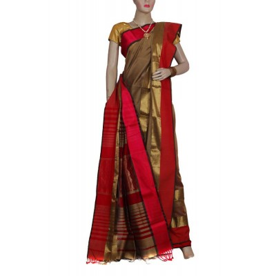 Ahilya Maheshwari Clay & Red Cotton Silk Maheshwari Handloom Saree