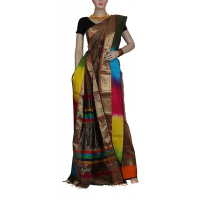 Ahilya Maheshwari Brown Cotton Silk Maheshwari Handloom Saree