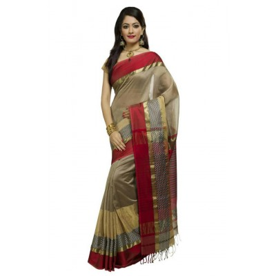 Ahilya Maheshwari Pale Brown Cotton Silk Maheshwari Handloom Saree