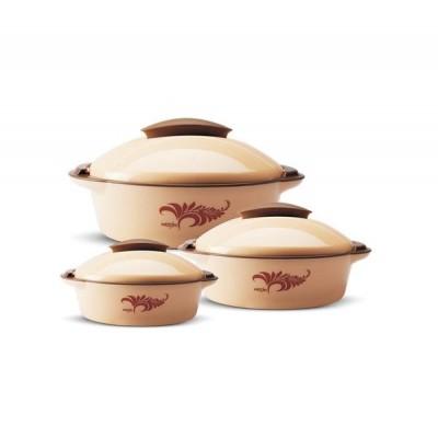 Milton Crisp DLX Gift Set 3 FG-THF-FTK-0192 (500 ml, 1.2 L, 2 L) Brown Plastic Casserole