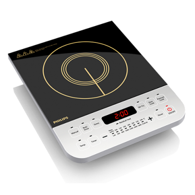 Philips Daily Collection HD4928/00 Black Crystal Glass Push Button Induction Cooktop
