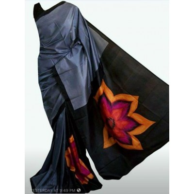 Nita's boutique Dark Ash Tussur Silk Acid Painted Saree