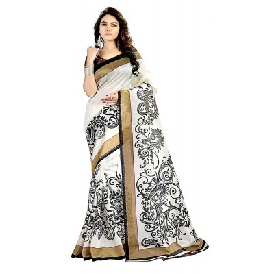 Nita's boutique Black & White Mysore Art Silk Printed Saree