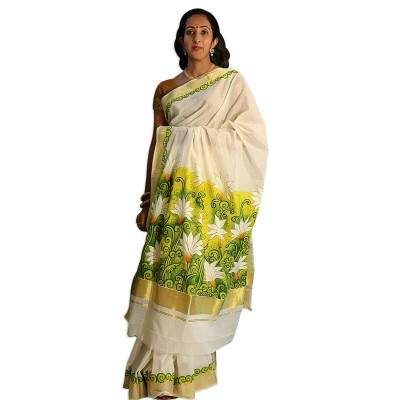 Saarank murals Off White Cotton Flower Mural Painted Kerala Kasavu Handloom Saree