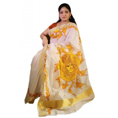 Saarank murals Off White Cotton Surya Dev Mural Painted Kerala Kasavu Handloom Saree