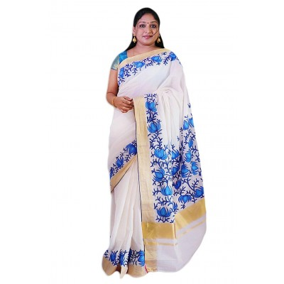 Saarank murals Off White Cotton Snow Blue Floral Mural Painted Kerala Kasavu Handloom Saree