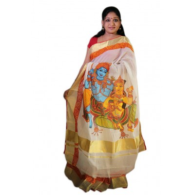 Saarank murals Off White Cotton Silk Radhakrishna Mural Painted Kerala Kasavu Handloom Saree