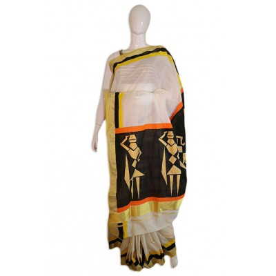 Saarank murals Off White Cotton Abstract lady Mural Painted Kerala Kasavu Handloom Saree
