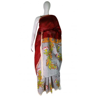 Saarank murals Maroon & Grey Cotton Silk Flower Mural Painted Saree