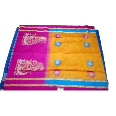Kanchi Silk Mustard Silk Zari Worked Kanchipuram Handloom Saree