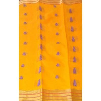 Kanchi Silk Cotton Yellow Cotton Silk Zari Worked Kanchipuram Handloom Saree