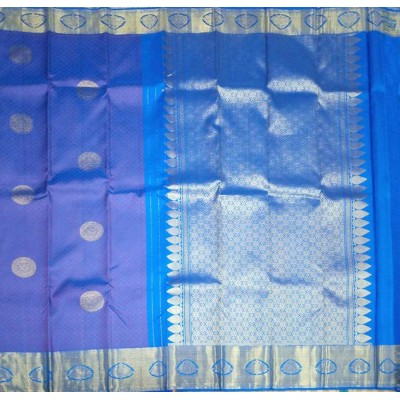 Kanchi Silk Blue Pure Silk Kanchipuram Handloom Saree