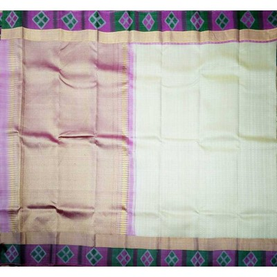 Kanchi Silk Off White Pure Silk Zari Worked Kanchipuram Handloom Saree