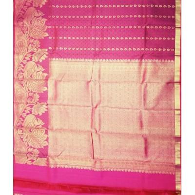 Kanchi Silk Pink Pure Silk Zari Worked Kanchipuram Handloom Saree