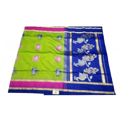 Kanchi Silk Green Silk Peacock Designed Kanchipuram Handloom Saree