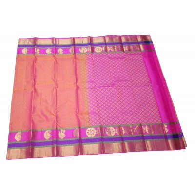 Kanchi Silk Pink and Gold Pure Silk Zari Worked Kanchipuram Handloom Saree