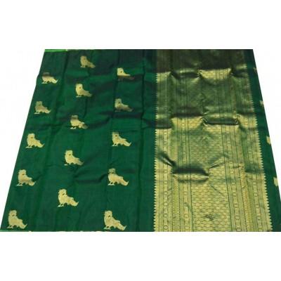Kanchi Silk Green Pure Silk Zari Worked Kanchipuram Handloom Saree