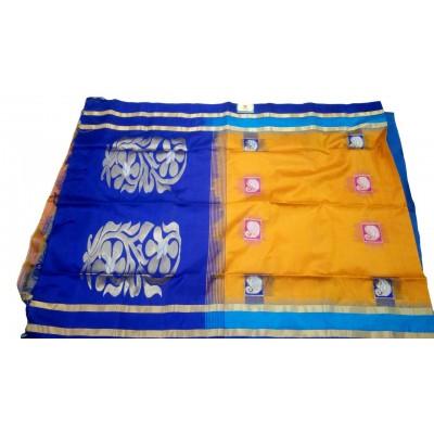 Kanchi Silk Mustard Silk Kanchipuram Handloom Saree
