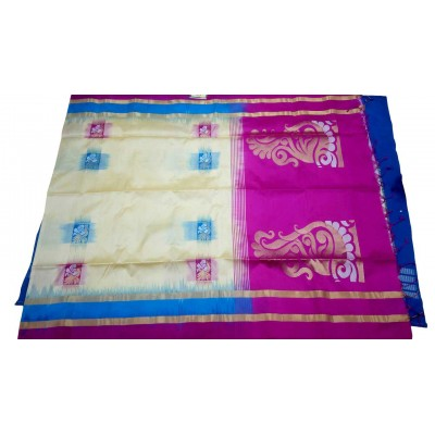 Kanchi Silk Cream Pure Silk Kanchipuram Handloom Saree