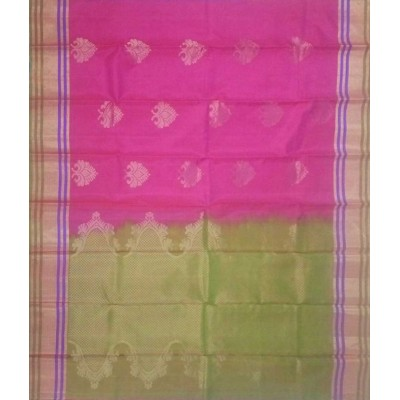 Kanchi Silk Rose Pure Silk Zari Worked Kanchipuram Handloom Saree